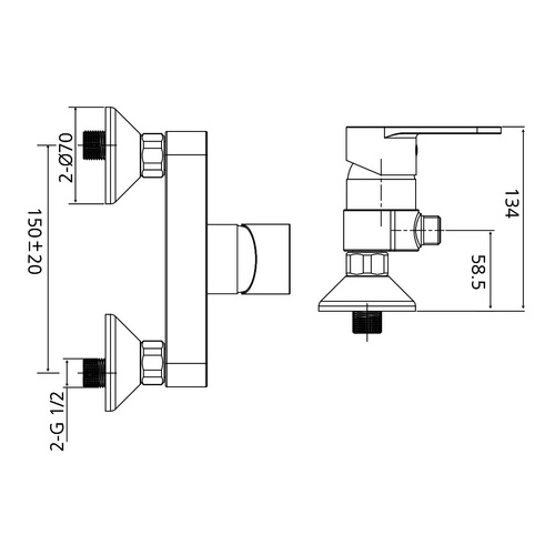 AqvaZone AQVABASIC I Brause-Einhebelmischer chrom 002551150 2