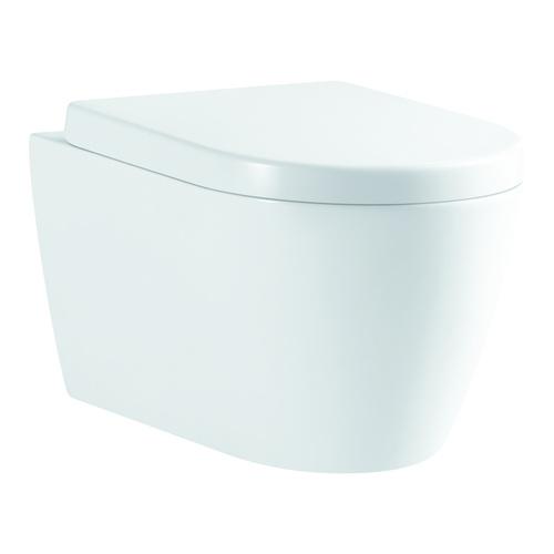AQVA Ceramica Tiefspül-WC, wandhängend, spülrandlos, 52 × 36 cm