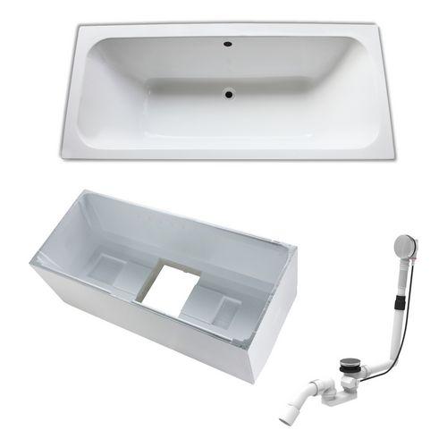 Acryl-Badewanne 180 × 80 cm, made by Ideal Standard inklusive Träger und Ablaufgarnitur
