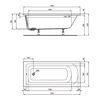 Design in Bad Acryl Körperform-Badewanne made by Ideal Standard 170 × 75 cm mit Träger und Ablaufgarnitur 2
