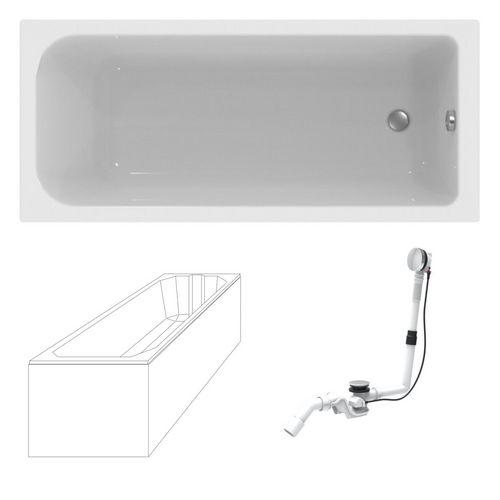 Design in Bad Acryl Körperform-Badewanne made by Ideal Standard 170 × 75 cm mit Träger und Ablaufgarnitur 0