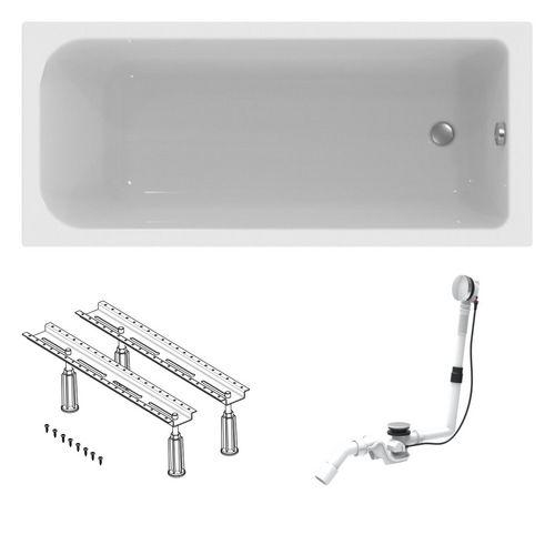 Acryl Körperform-Badewanne made by Ideal Standard 170 x 75 cm mit Füßen und Ablaufgarnitur