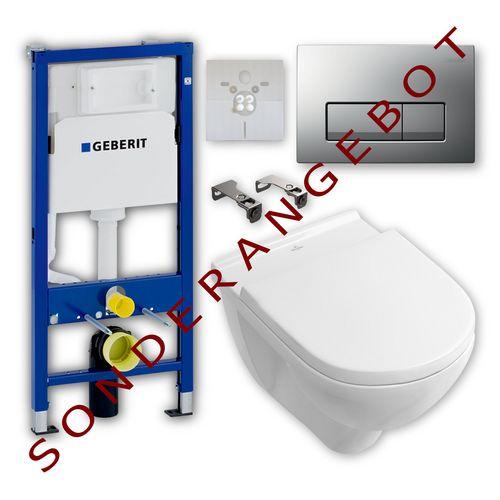 Villeroy & Boch Wand-WC-Set mit O.novo Tiefspül-WC, WC-Sitz, Geberit-Element, Betätigungsplatte Delta51, Schallschutzset