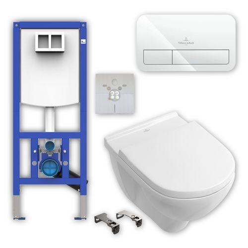 Villeroy & Boch Wand-WC-Set mit O.novo Tiefspül-WC, WC-Sitz, Vorwandelement, Betätigungsplatte ViConnect, Schallschutzset