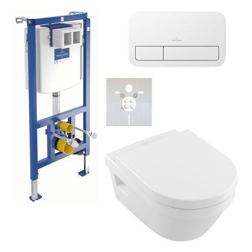 Villeroy & Boch Set Architectura WC inkl. WC-Sitz, ViConnectElement, Betätigungsplatte, Schallschutzset