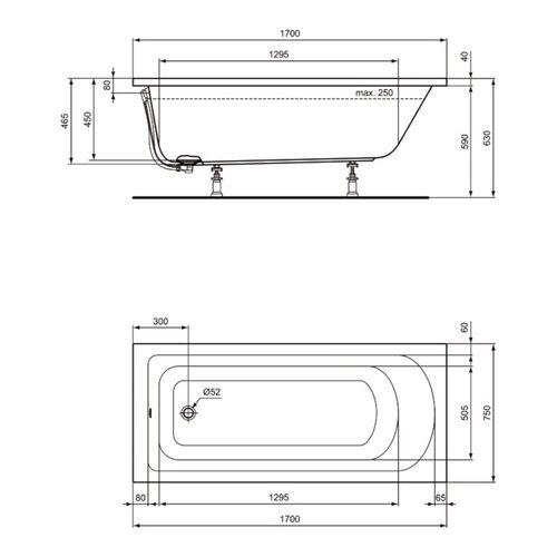 Ideal Standard Hotline New Körperform-Badewanne 170 x 75 cm Set mit Füßen und Ablaufgarnitur 2