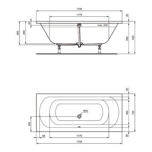 Ideal Standard Hotline New Duo Körperform-Badewanne 170 x 75 cm Set mit Wannenträger und Ablaufgarnitur 2