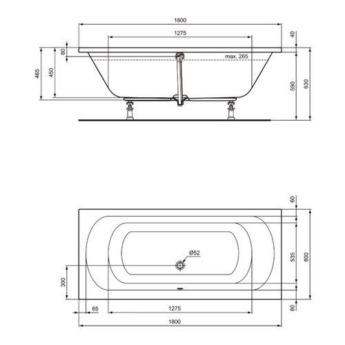 Ideal Standard Hotline New Duo Körperform-Badewanne 180 x 80 cm Set mit Wannenträger und Ablaufgarnitur 2