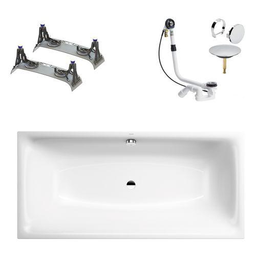 Silenio Rechteck-Badewanne 180 x 80 inkl. PerlEffekt, Fußgestell, Ablaufgarnitur