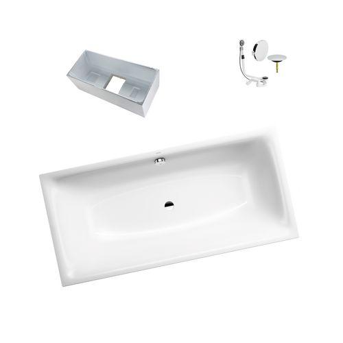 Silenio Rechteck-Badewanne 180 x 80 inkl. PerlEffekt, Wannenträger, Ablaufgarnitur