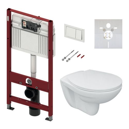 Tiefspül-Wand-WC Set WC-Sitz, TECE Base Betätigung weiß