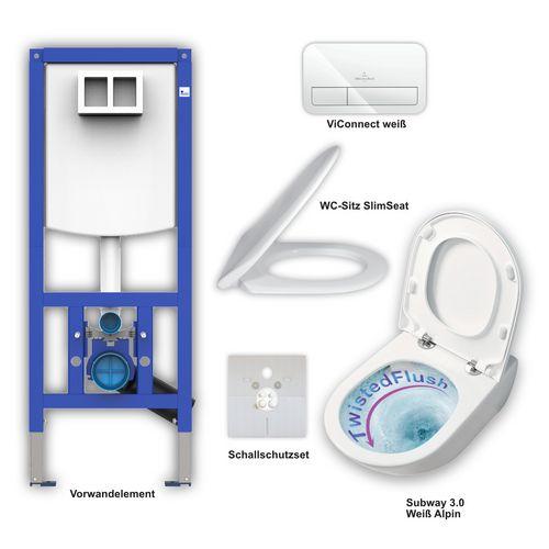 Set aus Subway 3.0 WC TwistFlush + Slimseat weiß, ViConnect E200 weiß, Element, Schallschutzset