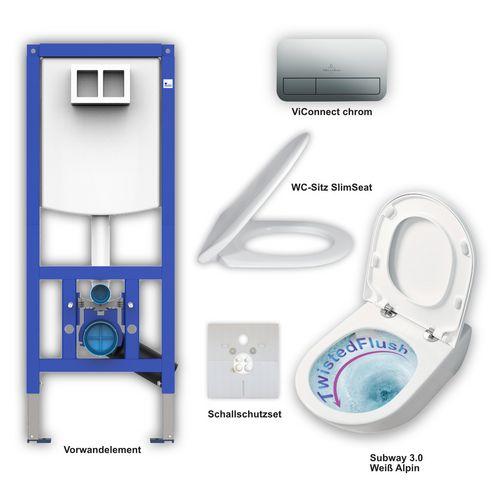Set aus Subway 3.0 WC TwistFlush + Slimseat weiß, ViConnect E200 chrom, Element, Schallschutzset