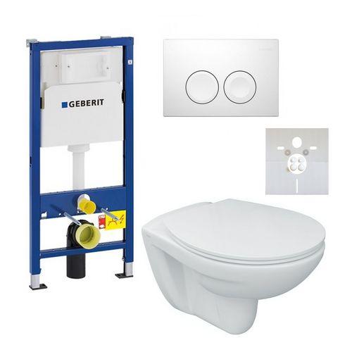 Tiefspül-Wand-WC Set mit WC-Sitz+GEBERIT Vorwand/Trockenbau-Element+Betätigung Delta21 weiß