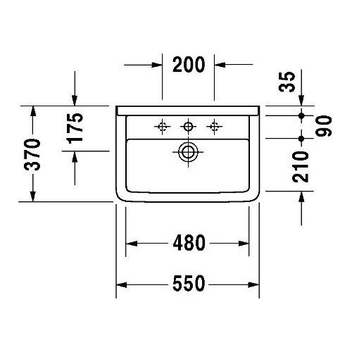 Duravit Duravit Starck 3 Waschtisch Compact 550 Mm 1 Hahnloch