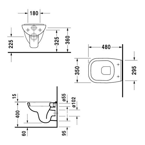 duravit duravit d code wand wc compact 48 cm mit wc sitz. Black Bedroom Furniture Sets. Home Design Ideas