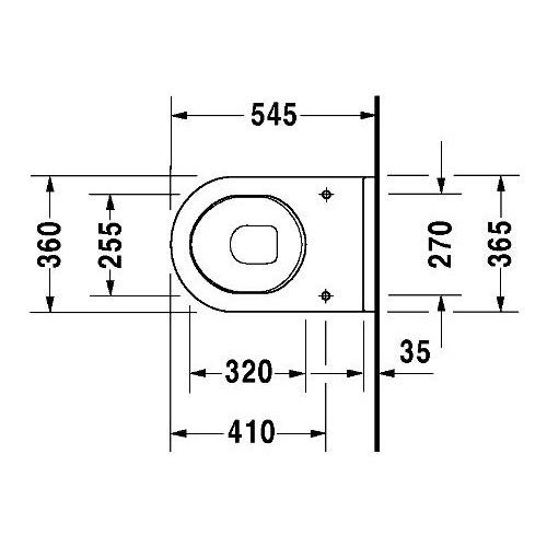 Hervorragend Duravit Duravit Starck 3 Wand-WC Tiefspüler 540 mm erhöhte Sitzpos  PQ19