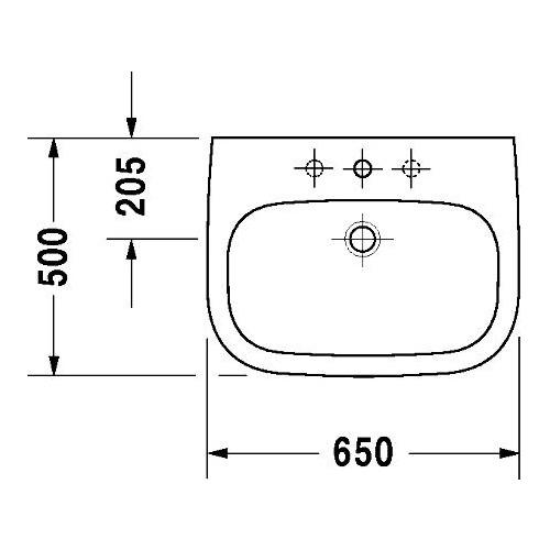duravit duravit d code waschtisch 650 mm mit hahnloch und. Black Bedroom Furniture Sets. Home Design Ideas