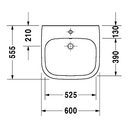 duravit duravit d code waschtisch vital 600 mm 231260. Black Bedroom Furniture Sets. Home Design Ideas