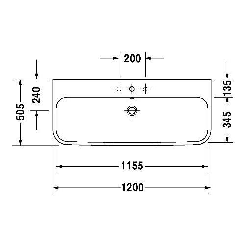 Duravit Happy D.2 Möbelwaschtisch für 1-Locharmatur 1200 mm 2318120 1