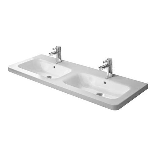 Durastyle Möbel-Doppelwaschtisch weiß 2x Hahnloch 1300 mm 233813