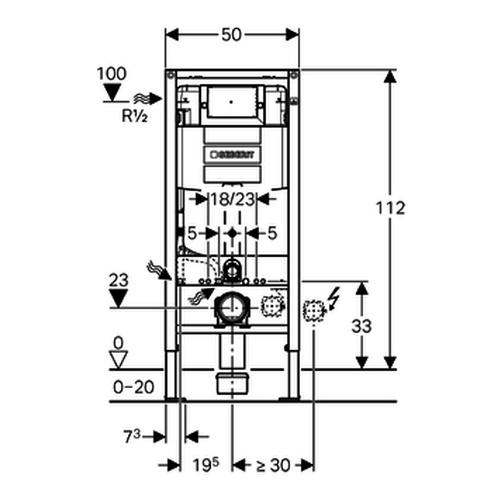 Duofix Element für Wand-WC 112cm