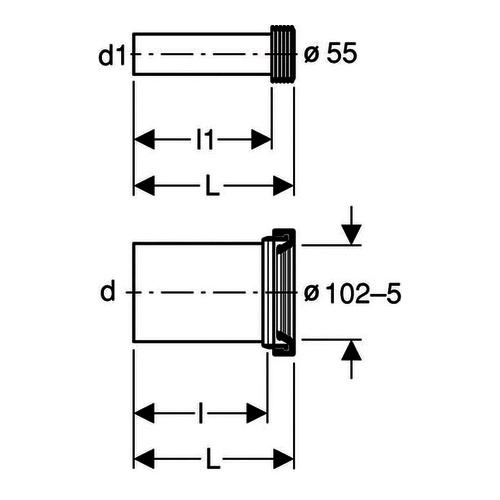 Wand-WC-Anschlussgarnitur 90x185mm PE 152426461