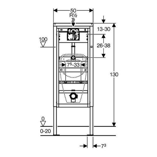 DuofixBasic Element für Urinal, 130 cm, für Urinalsteuerung Basic
