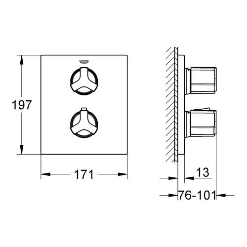 grohe unterputz thermostat wannenbatterie allure 19446 design in bad. Black Bedroom Furniture Sets. Home Design Ideas