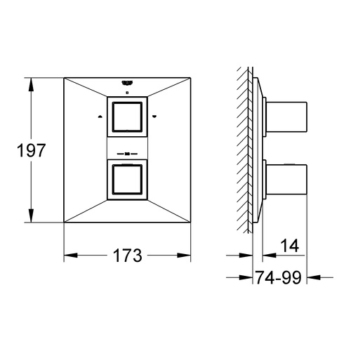 grohe unterputz thermostat wannenbatterie allure brilliant 19792 design in bad. Black Bedroom Furniture Sets. Home Design Ideas