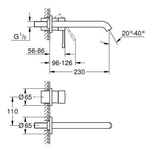 Grohe Essence 2 - Loch Waschtischbatterie ohne Zugstangenablaufgarnitur, L-Size 2