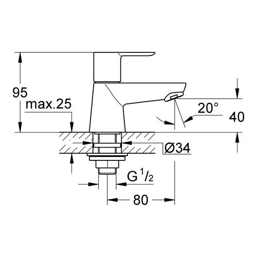 Hervorragend Grohe BauEdge Waschtisch-Standventil (Kaltwasser) 20421 - Design  PX55