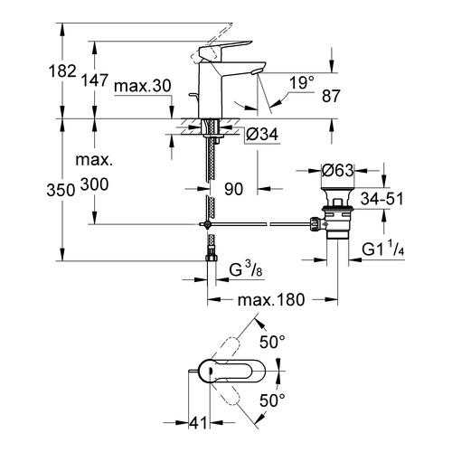 GROHE Einhand-Waschtischbatterie BauEdge 23328 Zugstangen-Ablaufgarnitur