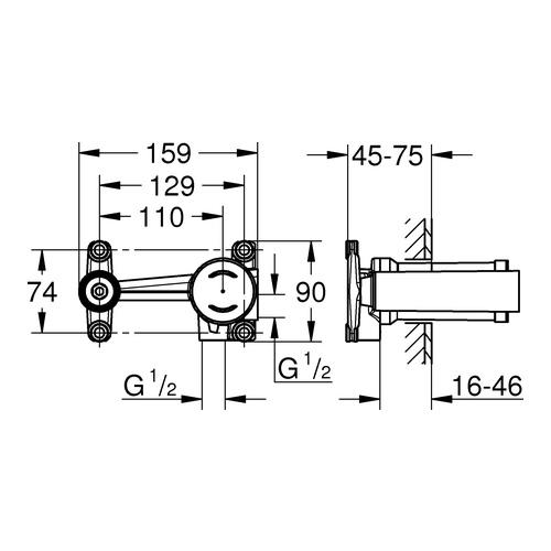 Grohe Eurostyle Einhand Unterputz-Universal-Einbaukörper, 2-Loch-Waschtisch-Batterien mit runder Hülse 1