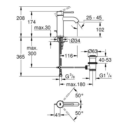 Essence Einhand-Waschtischbatterie mit Zugstangenablaufgarnitur, S ...