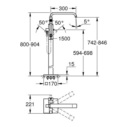grohe allure einhand wannenbatterie bodenmontage 32754 design in bad. Black Bedroom Furniture Sets. Home Design Ideas