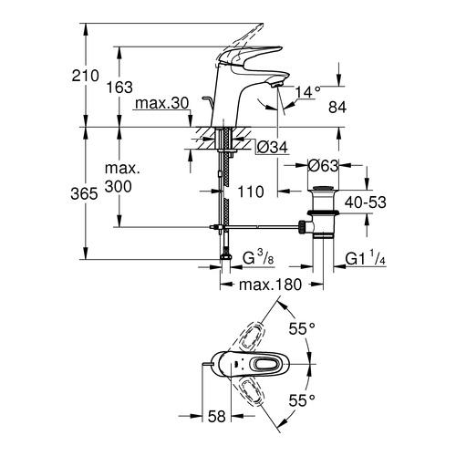 Grohe Eurostyle Einhand-Waschtischbatterie offener Metall-griff, mit Ablauf S-Size 2