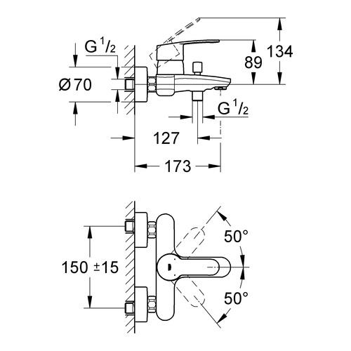 Grohe Wannenbatterie Eurostyle C 33591 1