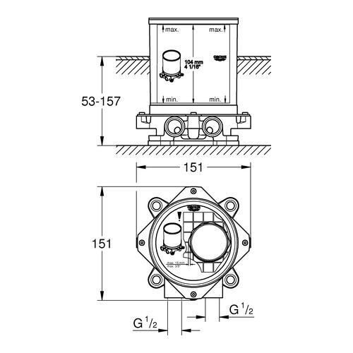 Grohe Rohbauset für freistehende Wannenbatterie, -auslauf und freistehende Brausebatterie 1