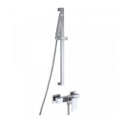Shower Set 3.01 Eckig, Aufputz-Einhebelmischer, Design-Handbrause mit höhenverstellbarem Brausehalter