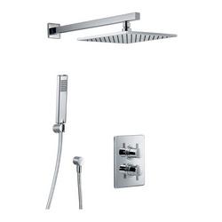 Shower Set 3.04 Eckig, Unterputz-Sicherheitsthermostat mit 38°C-Sperre und 2-Wege-Umsteller, Kopfbrause 25 × 25 cm × 8 mm