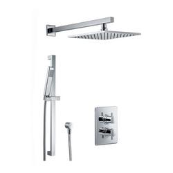 Shower Set 3.05 Eckig, Unterputz-Sicherheitsthermostat mit 38°C-Sperre und 2-Wege-Umsteller, Kopfbrause 25 × 25 cm × 8 mm