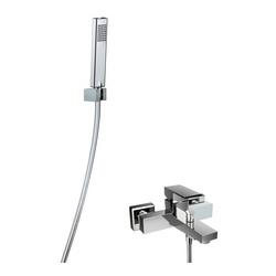 Shower Set 3.09 Eckig, Aufputz-Badewannen-Einhebelmischer, Design-Handbrause