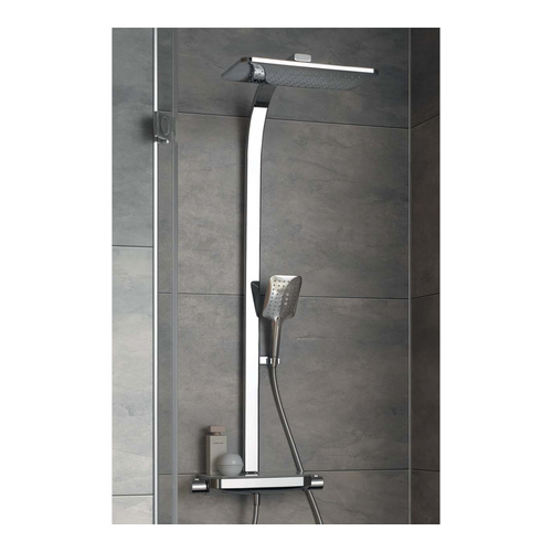 AquaTray Thermostat mit Schwall und Glasablage weiß inklusive Kopf-und Handbrause