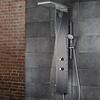Lavida Plus Duschpaneel mit Schwallfunktion, Traverse mit Regenbrause, Edelglasbeschichtung, Edelstahl poliert 162 × 34,6 × 8,6 cm