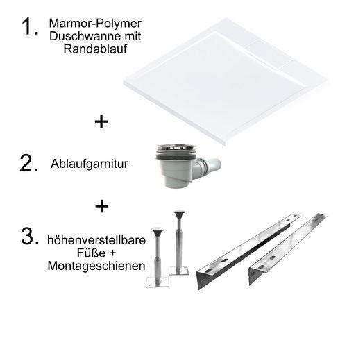 Marmor-Polymer Duschwannen-Set, superflach mit Randablauf 90 × 90 × 4 cm