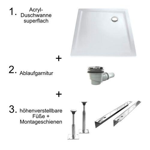 Acryl-Duschwannen-Set, superflach 80 × 80 × 3,5 cm