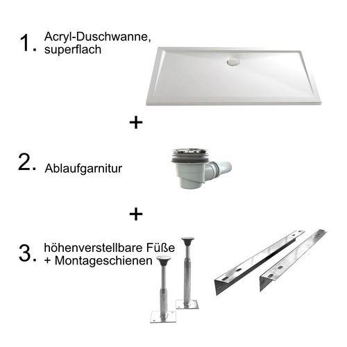 Acryl-Duschwannen-Set, superflach 80 × 100 × 3,5 - 4,5 cm