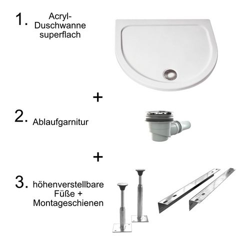 Acryl-Duschwannen-Set, superflach ohne Schürze 96 × 82 × 3,5 cm