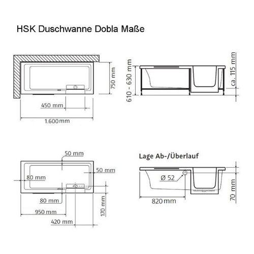 Duschbadewanne 160  HSK Badewanne mit Tür Dusch-Badewanne 160 x 75 - Design in Bad